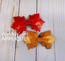 Fall Leaves Leather 'Pinch' Bow Basic Bow ITH 3D Bow